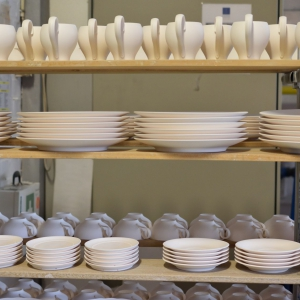 Plates and cups before firing