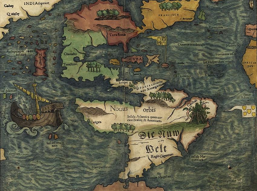 "The New World ""Novus Orbis"" map by Sebastian Münster"