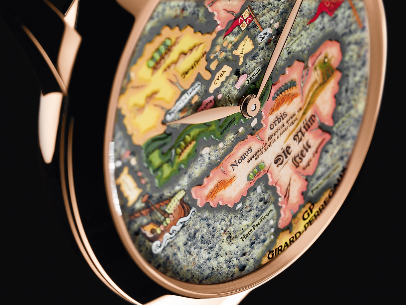 The dial of the New World timepiece