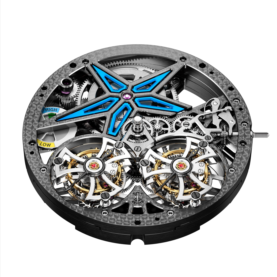 Excalibur Spider Pirelli – Double Flying Tourbillon movement