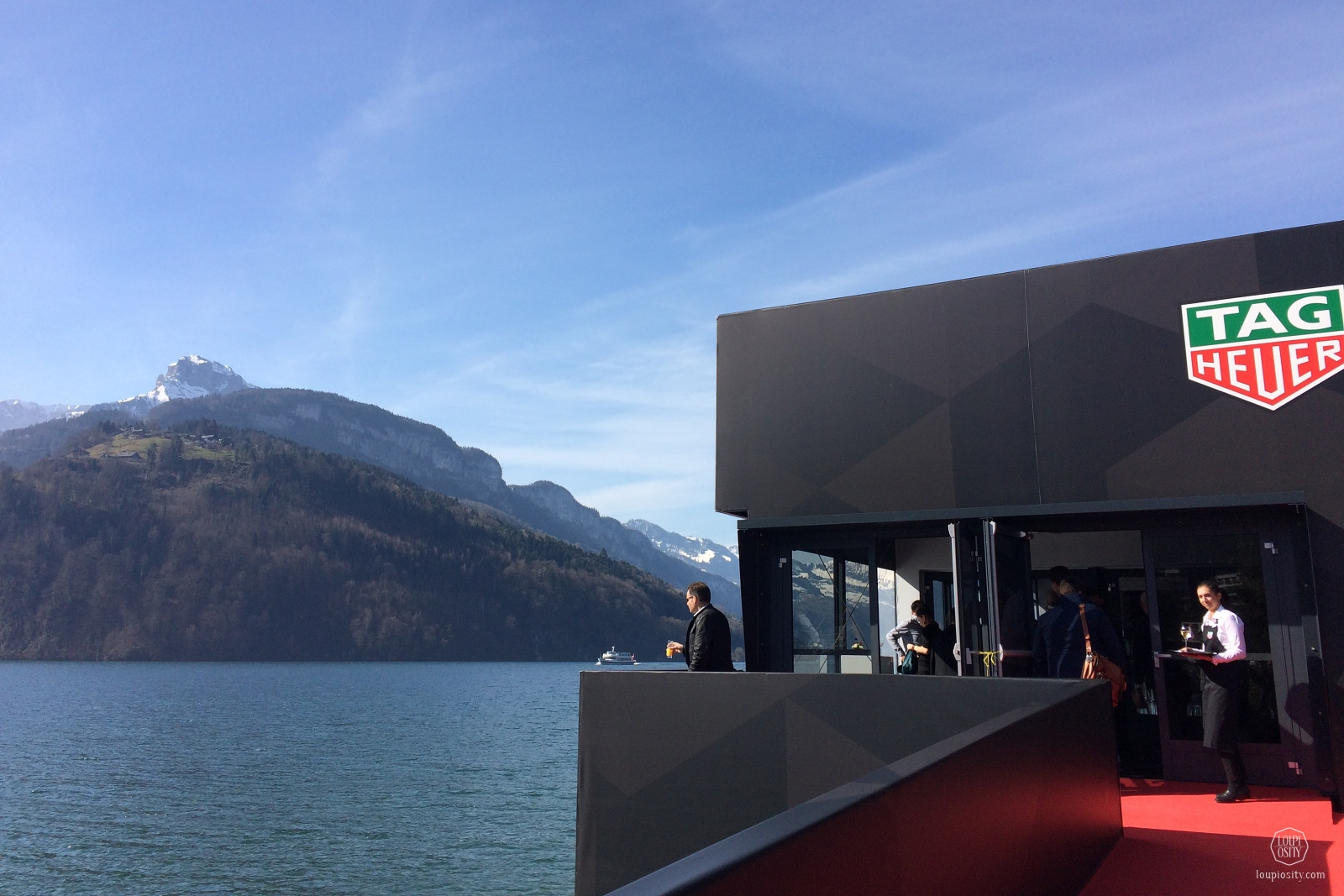 View from Brunnen, at the Lake Lucerne and the TAG Heuer booth