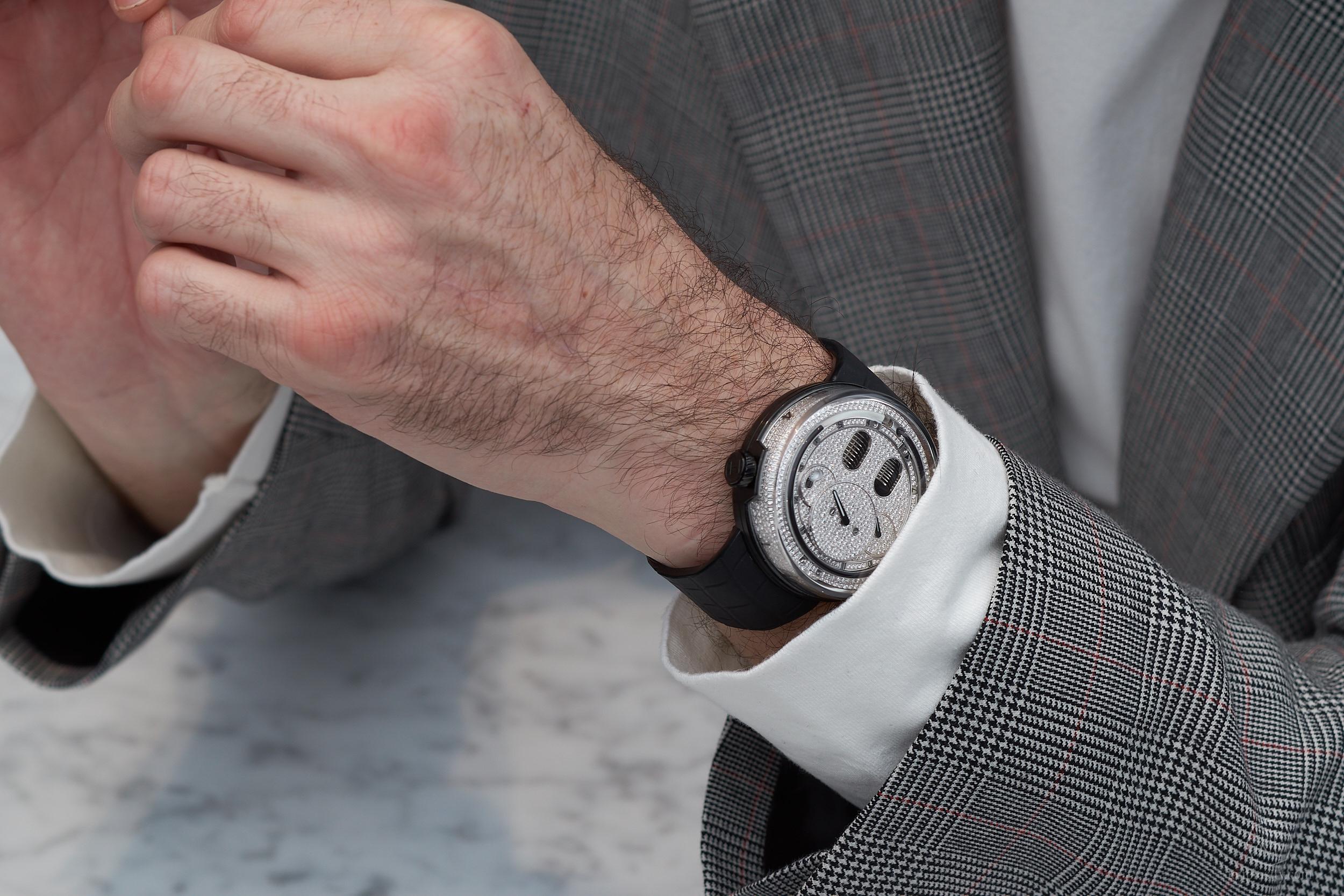 HYT H0 - diamond set black version on the wrist of François Nunez