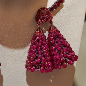 Knot necklace with ruby beads
