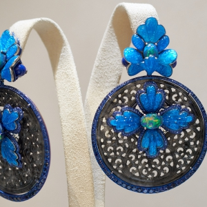 Earrings with lapis lazuli, jadite