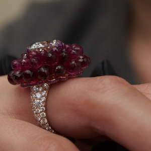 High Jewellery diamond and ruby ring