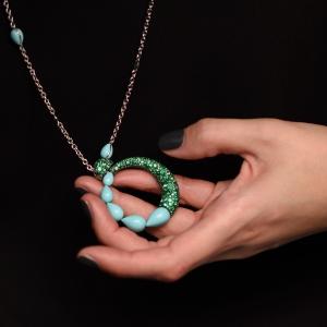 India white gold necklace, pendant