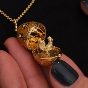 Gold Rooster Locket