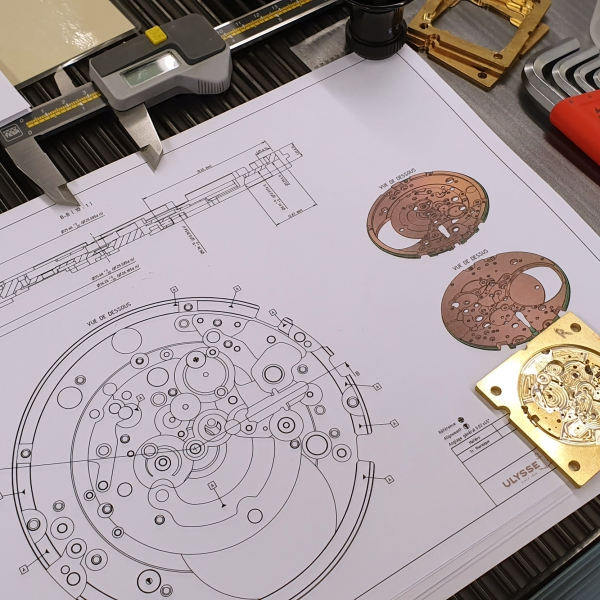 An Ulysse Nardin mainplate in the Girard-Perregaux manufacture