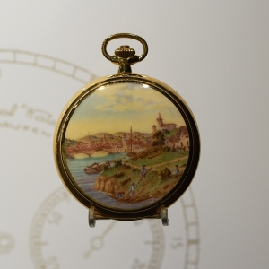 Savonette pocket watch, enamel decoration