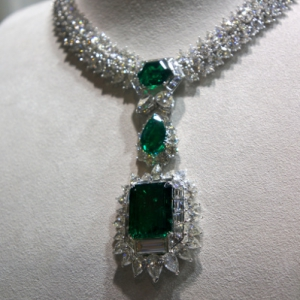 Emerald, diamond necklace