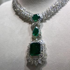 Emerald, diamond necklace