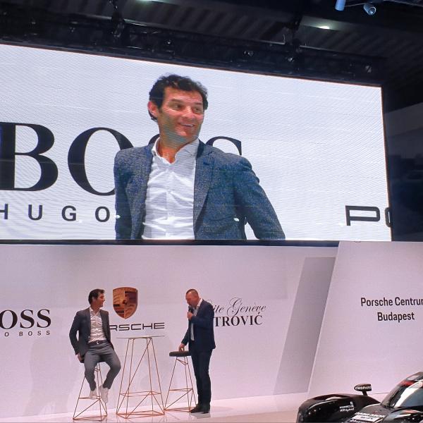 Mark Webber and Zoltan Szujo at Porsche Centrum