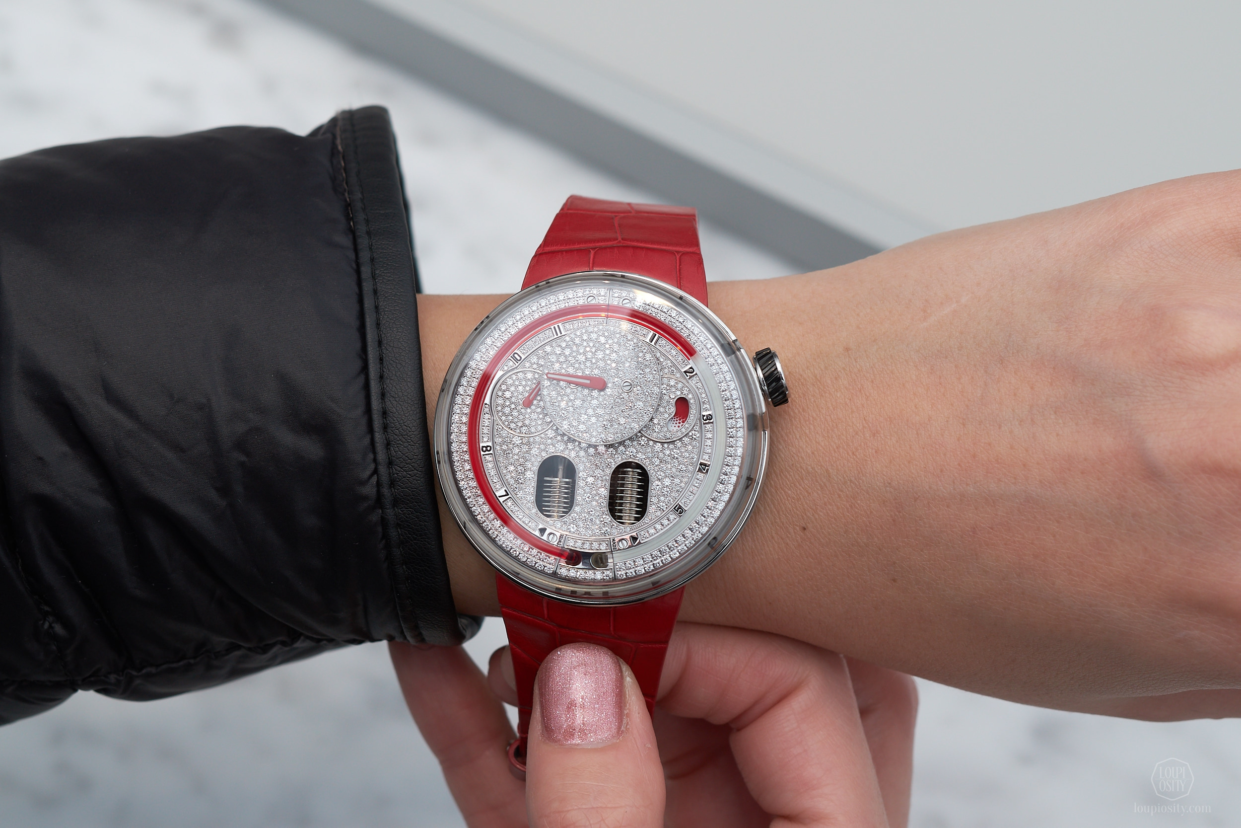 HYT H0 - diamond set red version on the wrist