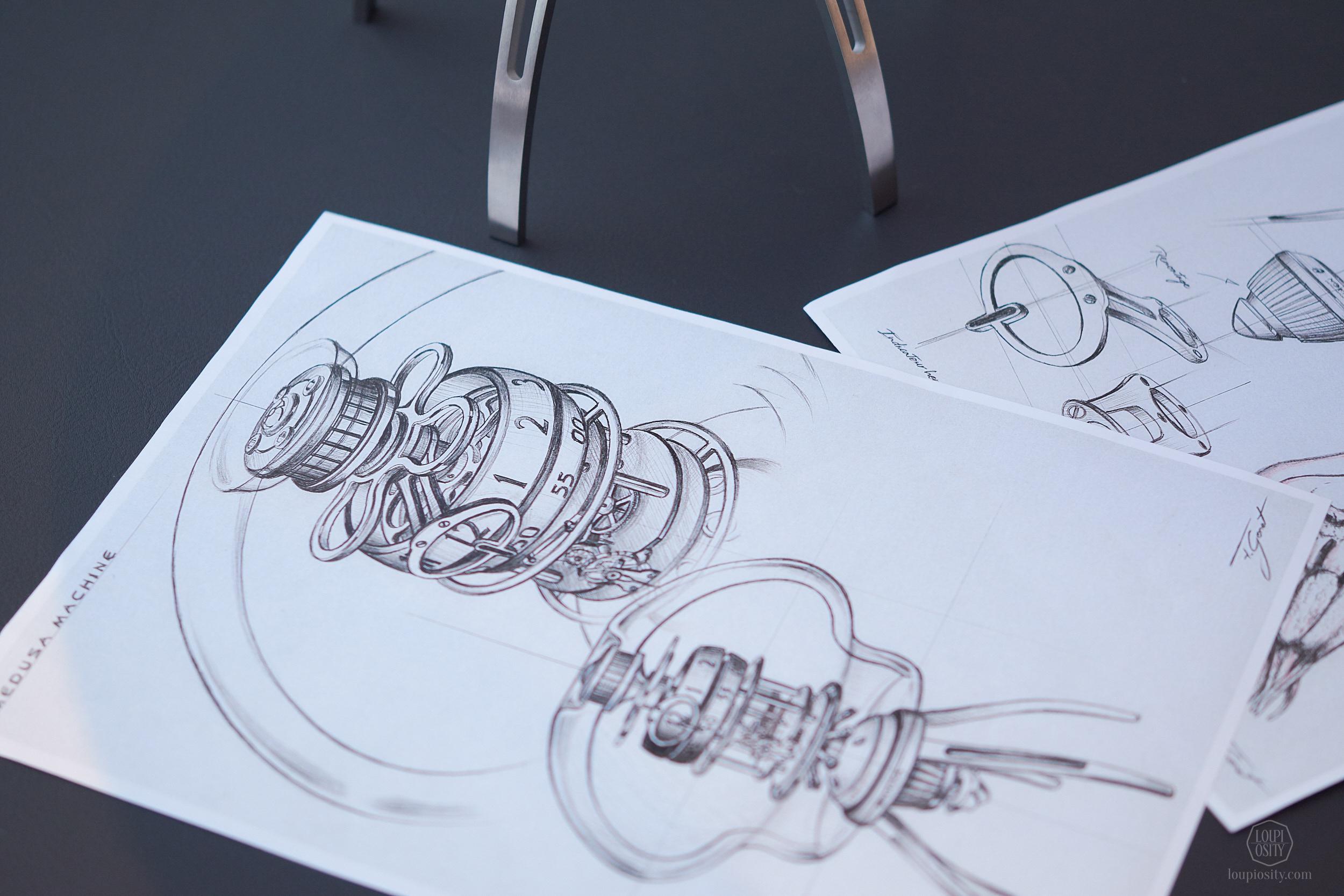 Fabrice Gonet designer's sketches for the Medusa