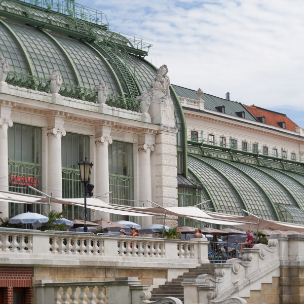 The roof structure of the Palmenhaus in Vienna