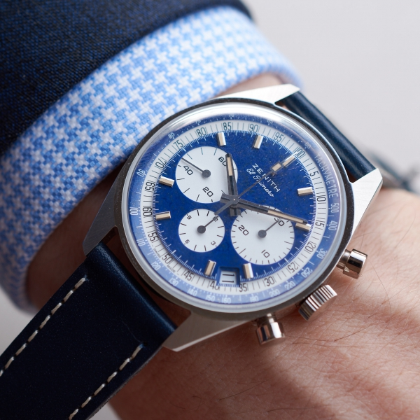 Zenith El Primero One-Off In Platinum and lapis lazuli Ref. 386 Revival designed by Phillips on the wrist